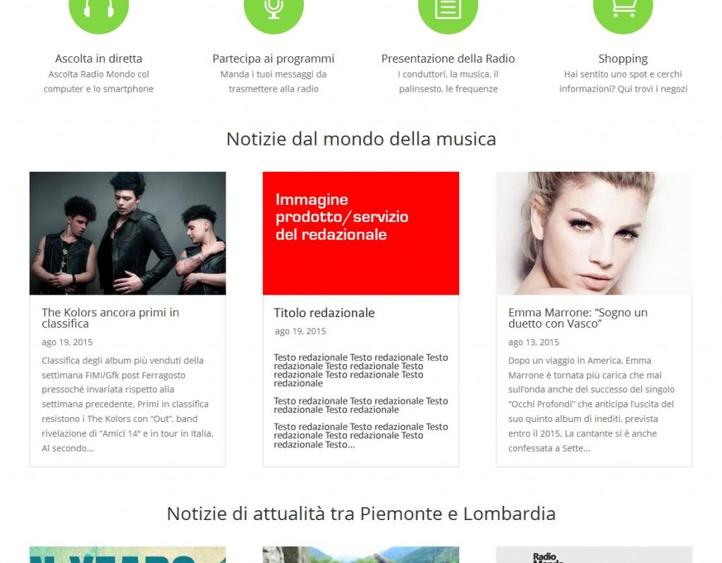Esempio di redazionale richiamato in home page