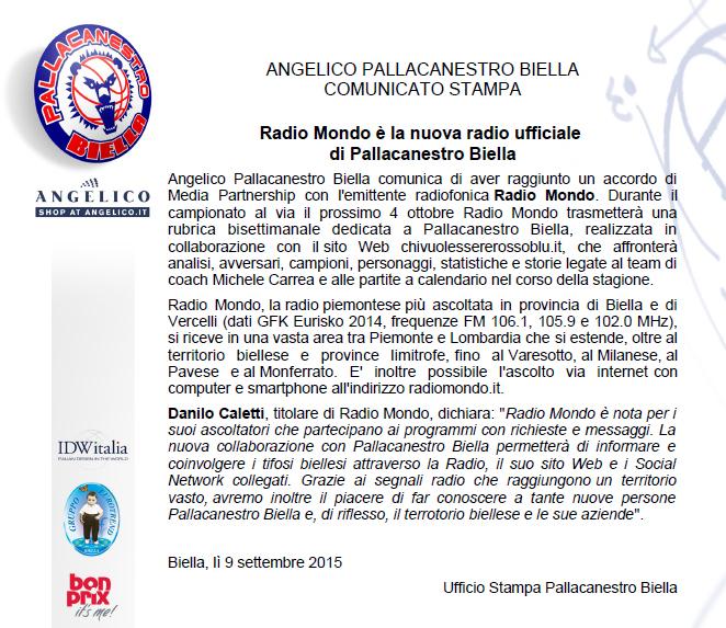 Radio Ufficiale di Angelico Pallacanestro Biella