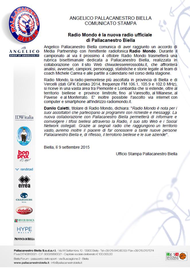 Il comunicato di Angelico Pallacanestro Biella che annuncia Radio Mondo nuova Radio Ufficiale