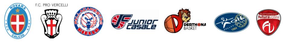 Novara, Pro Vercelli, Pallacanestro Biella, Junior Casale, Derthona Basket, Agil Volley, Futura Volley